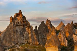 Rock formation in Goreme at sunset, Cappadocia (UNESCO World Heritage Site), Turkey by Keren Su