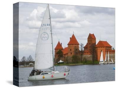 Sailboat with Island Castle by Lake Galve, Trakai, Lithuania