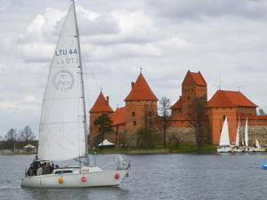 Sailboat with Island Castle by Lake Galve, Trakai, Lithuania by Keren Su