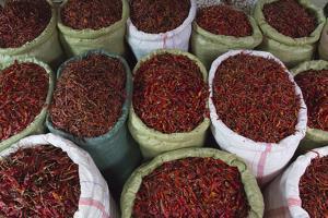 Selling Red Peppers at the Market, Pakokku, Magway Region, Myanmar by Keren Su