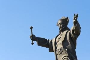 Statue of Kenesary Khan at the entrance to Turkestan, Kazakhstan. by Keren Su