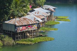 Stilt houses on Kaptai Lake, Rangamati, Chittagong Division, Bangladesh by Keren Su