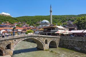 Stone bridge, Sinan Pasha Mosque and houses, Prizren Bistrica River, Prizren, Kosovo by Keren Su