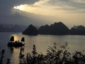 Sunset on Karst Hills and Junk Boats, Ha Long Bay, Vietnam by Keren Su