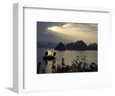 Sunset on Karst Hills and Junk Boats, Ha Long Bay, Vietnam