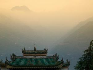 Sunset View of Qu Yuan Temple, Yangtze River, China by Keren Su
