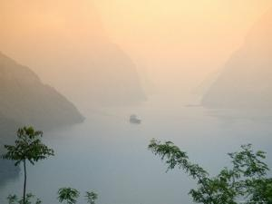 Sunset View of Xiling Gorge, Three Gorges, Yangtze River, China by Keren Su