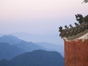 Taoist Temple in Mountain Landscape by Keren Su