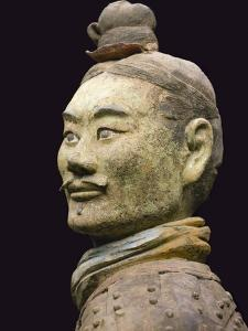 Terra cotta warrior with color still remaining, Emperor Qin Shihuangdi's Tomb, Xian, Shaanxi, China by Keren Su