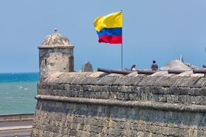 The walls and cannon in the old town, Cartagena Bolivar Department, Colombia. by Keren Su