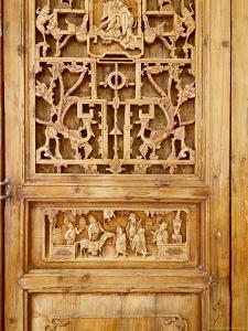 Traditional Wood Screen Door with Intricate Carving, China by Keren Su