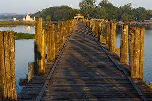 U Bein Teak Bridge with Citadel Pagoda, Amarapura, Mandalay, Myanmar by Keren Su