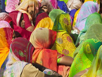 Women in Colorful Saris Gather Together, Jhalawar, Rajasthan, India