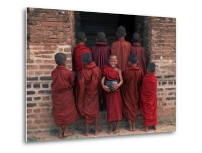 Young Monks in Red Robes with Alms Woks, Myanmar