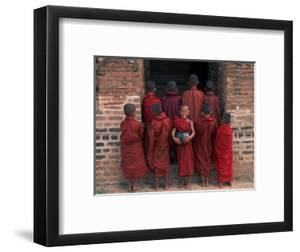 Young Monks in Red Robes with Alms Woks, Myanmar by Keren Su