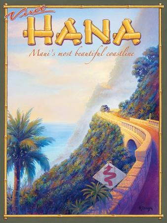 Visit Lahaina Kerne Erickson Vintage Style Travel Poster Print Maui Hawaii