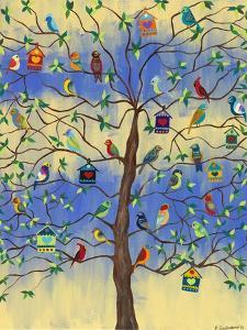 Bird and Bird Houses on Tree by Kerri Ambrosino