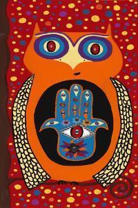 Owl with Evil Eye Hamsa by Kerri Ambrosino
