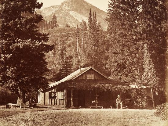 Kessler Peak and Meeks Camp, Big Cottonwood Canyon, Utah, Usa, 1861-75-Carleton Emmons Watkins-Photographic Print