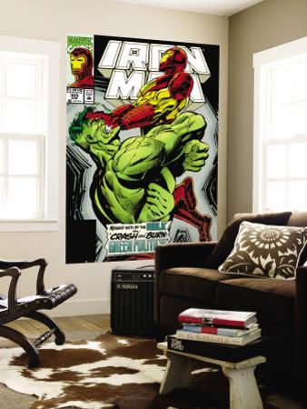 Iron Man No.305 Cover: Iron Man and Hulk Fighting