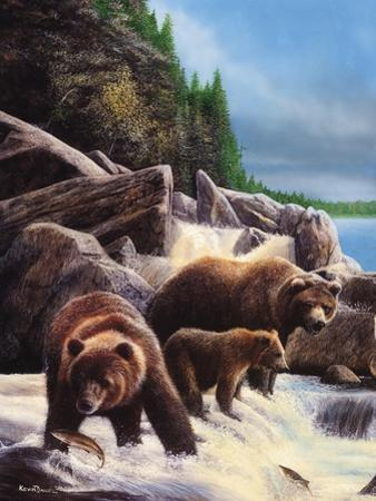 Grizzlies by Falls by Kevin Daniel