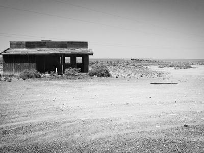 Arizona Deserted Building Architecture Landscape, Two Guns Ghost Town in Black and White