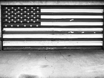 Patriotic American Flag Garage Door, Albuquerque, New Mexico, Black and White