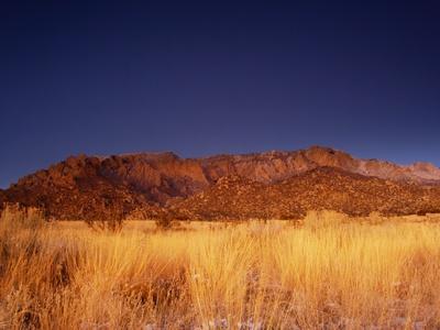 Sandia Mountains Desert Twilight Landscape, New Mexico