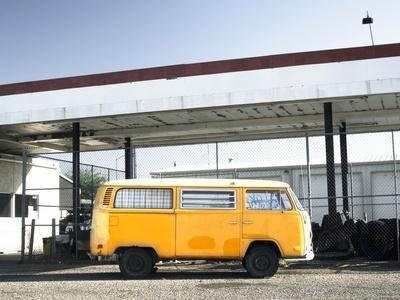 Yellow Bus and Deserted Gas Station, Page, Arizona