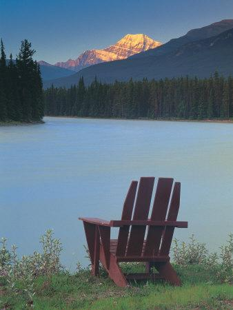 Chair by a River and Mountain