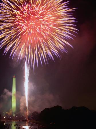 Fireworks Above Washington Monument on 4th of July, Washington DC, USA