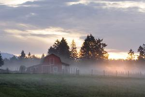 Canada, B.C., Vancouver Island. Barn on a Farm in the Cowichan Valley by Kevin Oke
