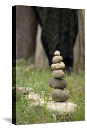 Canada, British Columbia, Cowichan Valley. Balanced Rocks at a Lavender Farm