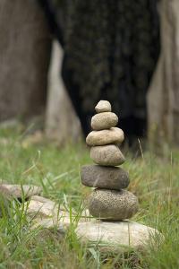 Canada, British Columbia, Cowichan Valley. Balanced Rocks at a Lavender Farm by Kevin Oke