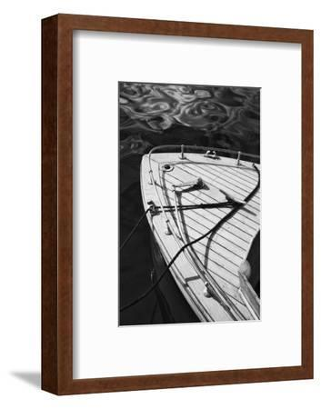 Washington, Port Townsend. Bow of a Classic Speedboat, Black and White