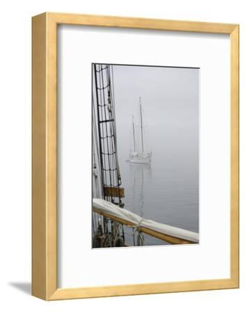 Washington State, Port Townsend. Sailboat in the Fog Off Port Townsend