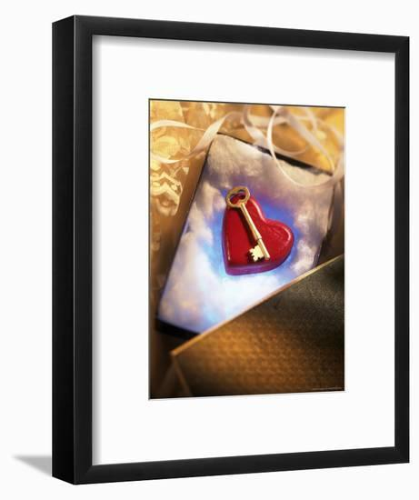Key on Red Heart in Golden Box with Ribbon-Ellen Kamp-Framed Photographic Print