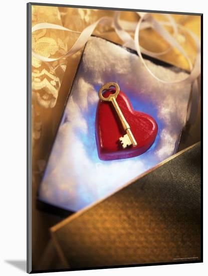 Key on Red Heart in Golden Box with Ribbon-Ellen Kamp-Mounted Photographic Print