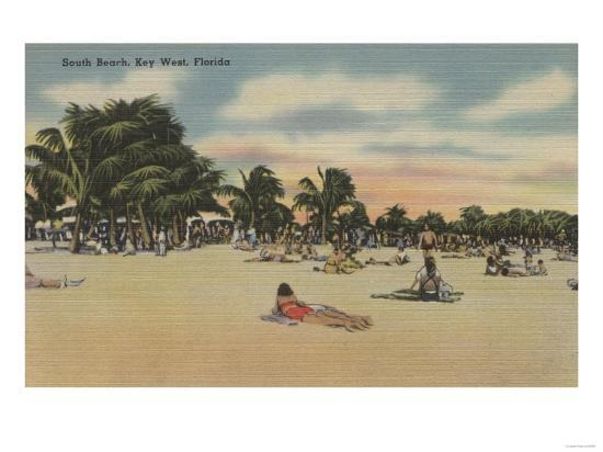 Key West, FL - View of South Beath with Sunbathers-Lantern Press-Art Print