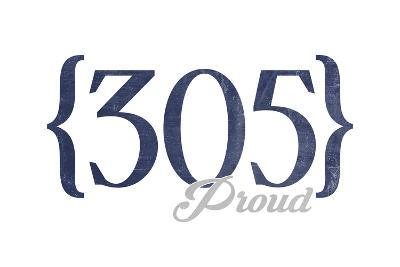 Key West, Florida - 305 Area Code (Blue)-Lantern Press-Art Print