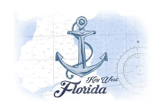 Key West, Florida - Anchor - Blue - Coastal Icon-Lantern Press-Art Print