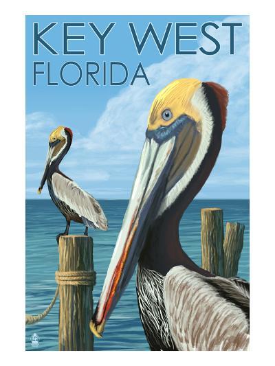 Key West, Florida - Brown Pelican-Lantern Press-Art Print