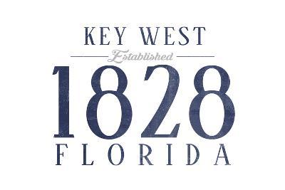 Key West, Florida - Established Date (Blue)-Lantern Press-Art Print