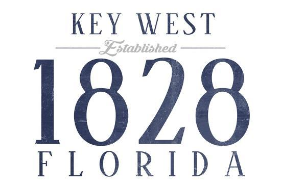 Key West, Florida - Established Date (Blue)-Lantern Press-Art Print