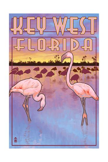 Key West, Florida - Flamingos-Lantern Press-Art Print