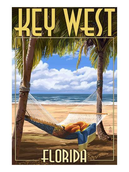 Key West, Florida - Hammock Scene-Lantern Press-Art Print