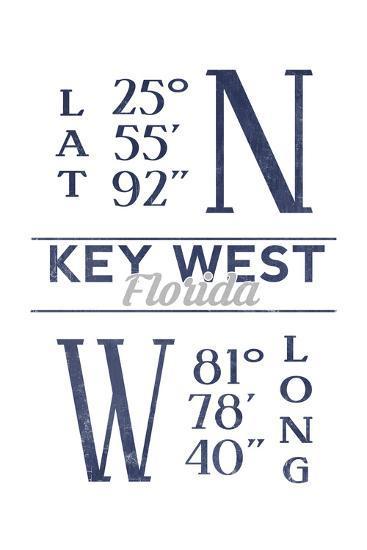 Key West, Florida - Latitude and Longitude (Blue)-Lantern Press-Art Print