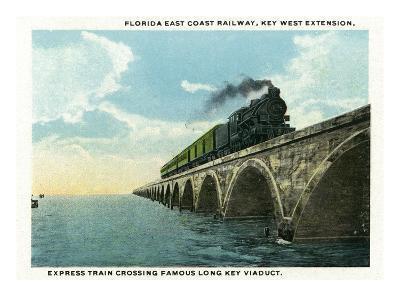 Key West, Florida - Long Key Viaduct Train Crossing Scene-Lantern Press-Art Print