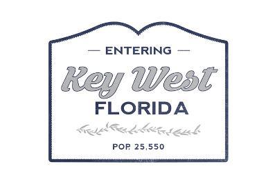 Key West, Florida - Now Entering (Blue)-Lantern Press-Art Print