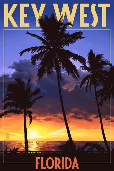 Key West, Florida - Palms and Sunset-Lantern Press-Art Print